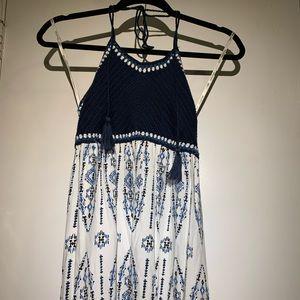 Woven Blue Halter Dress